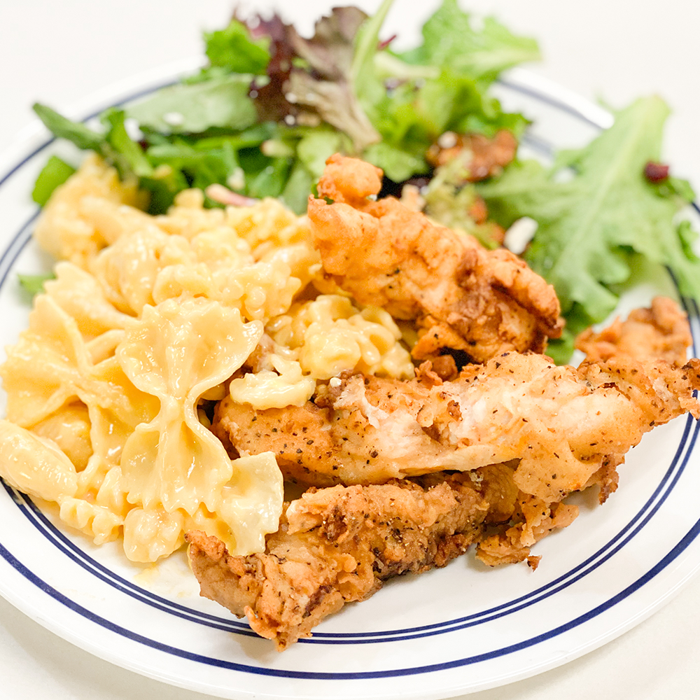 Fried Chicken and Cheddar Macaroni and Cheese
